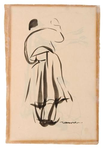 La Mouleur de la Viérge folle, Rik Wouters, s.d., Oost-Indische inkt op papier, 34,5 x 24 cm, Collectie Provincie Antwerpen, P/G 447, legaat Roger baron Avermaete, foto: Jacques Sonck