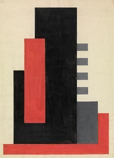 Jos Leonard, Compositie in zwart, grijs, rood, KMSKA