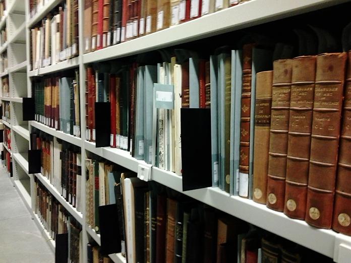 De bibliotheekcollectie in het Felixarchief . De zwarte kaarten duiden de steekproef aan.